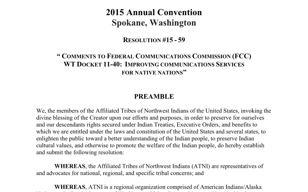 COMMENTS TO FEDERAL COMMUNICATIONS COMMISSION (FCC) WT DOCKET 11-40: IMPROVING COMMUNICATIONS SERVICES FOR NATIVE NATIONS